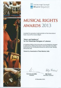 Musical Rights Award Certificate Prima Materia